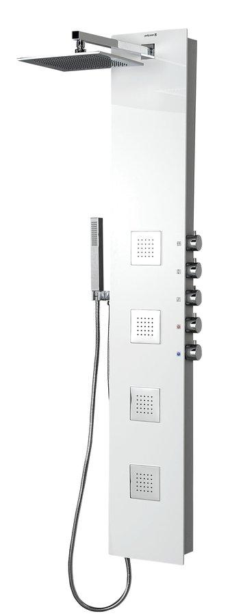 Sapho POLYSAN 5SIDE SQUARE zuhanypanel keverő csaptelep, fejzuhannyal, oldal fúvókák, kézizuhany, 210x1500mm, wenge (80216)