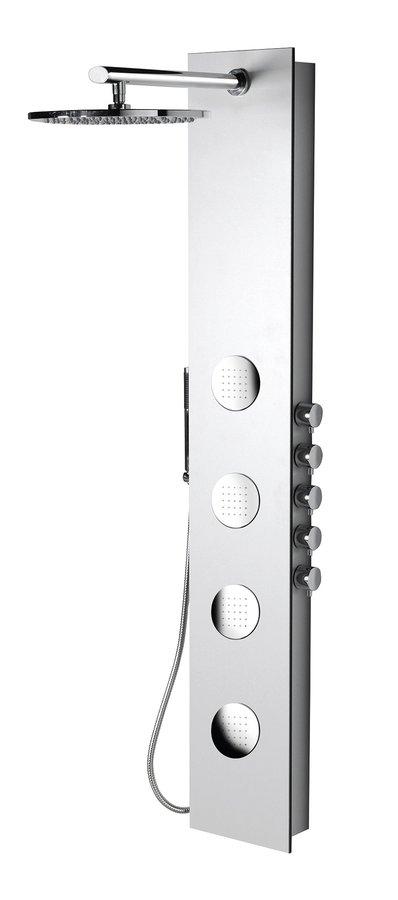 Sapho POLYSAN 5SIDE ROUND zuhanypanel keverő csaptelep, fejzuhannyal, oldal fúvókák, kézizuhany, 250x1550mm, akril/fehér (80217)