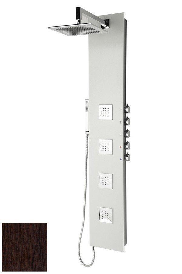 Sapho POLYSAN 5SIDE SQUARE zuhanypanel keverő csaptelep, fejzuhannyal, oldal fúvókák, kézizuhany, 250x1550mm, Wenge (80223)