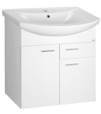 Sapho AQUALINE ZOJA mosdótartó szekrény, 2 ajtó, 1 fiók 61,5x74x32,5cm, fehér (51065A)