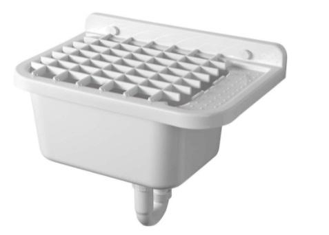 Sapho AQUALINE Fali kiöntő rakodó felülettel, szifonnal, 50x34cm, PVC, fehér (PI5050)