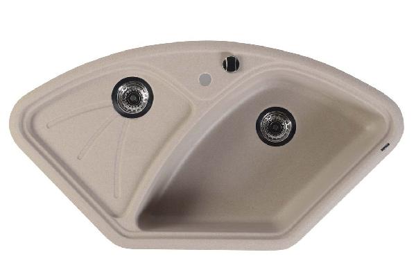 Sapho Gránit sarok mosogató csepegtető tálcával, 105x56cm, bézs (GR1902)