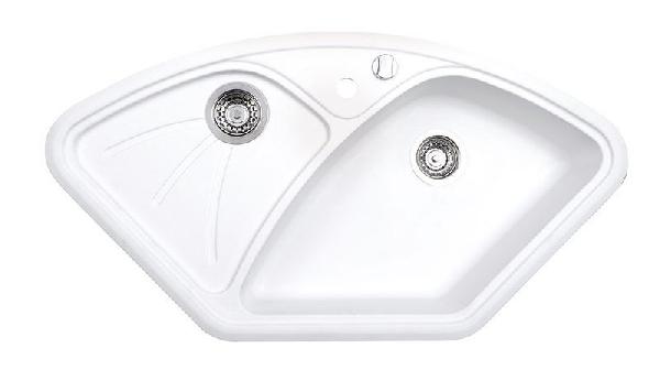 Sapho Gránit sarok mosogató csepegtető tálcával, 105x56cm,fehér (GR1901)
