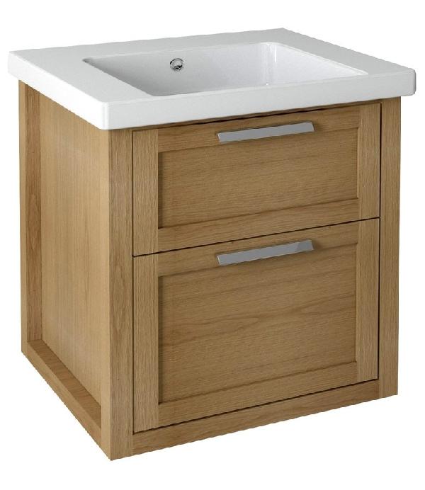 Sapho LARITA mosdótartó szekrény, 2 fiókkal, 56x65x48cm, natúr tölgy (LA062)