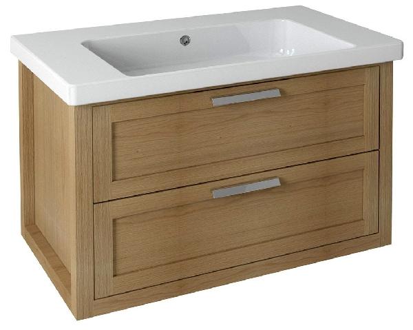 Sapho LARITA mosdótartó szekrény, 2 fiókkal, 86x55x48cm, natúr tölgy (LA092)