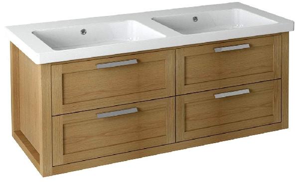 Sapho LARITA mosdótartó szekrény, 4 fiókkal, 120x55x48cm, natúr tölgy (LA122)